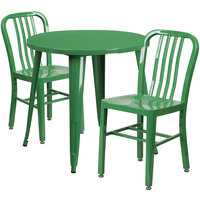 Flash Furniture CH-51090TH-2-18VRT-GN-GG 30 inch Round Green Metal Indoor / Outdoor Table with 2 Vertical Slat Back Chairs