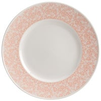 Homer Laughlin 170242129 Gala 9 inch Wide Rim China Plate with Gossamer Coral Floral Decaled Rim - 12/Case