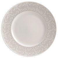 Homer Laughlin 170342128 Gala 7 3/4 inch Wide Rim China Plate with Gossamer Light Gray Floral Decaled Rim - 24/Case