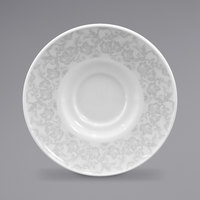 Homer Laughlin 171242128 Gala 6 1/2 inch China Saucer with Gossamer Light Gray Floral Decaled Rim - 12/Case