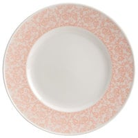 Homer Laughlin 170342129 Gala 7 3/4 inch Wide Rim China Plate with Gossamer Coral Floral Decaled Rim - 24/Case