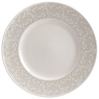 Homer Laughlin 170242128 Gala 9 inch Wide Rim China Plate with Gossamer Light Gray Floral Decaled Rim - 12/Case