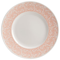 Homer Laughlin 170442129 Gala 6 1/2 inch Wide Rim China Plate with Gossamer Coral Floral Decaled Rim - 36/Case