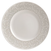 Homer Laughlin 170042128 Gala 11 1/4 inch Wide Rim China Plate with Gossamer Light Gray Floral Decaled Rim - 12/Case
