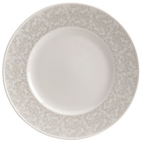 Homer Laughlin 170142128 Gala 10 3/8 inch Wide Rim China Plate with Gossamer Light Gray Floral Decaled Rim - 12/Case