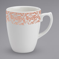 Homer Laughlin 171642129 Gala 14 oz. China Mug with Gossamer Coral Floral Decaled Rim   - 12/Case