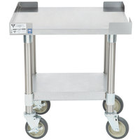 APW Wyott SSS-18C 16 Gauge Stainless Steel 18 inch x 24 inch Medium Duty Cookline Equipment Stand with Galvanized Undershelf and Casters