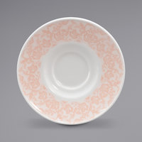 Homer Laughlin 171242129 Gala 6 1/2 inch China Saucer with Gossamer Coral Floral Decaled Rim - 12/Case