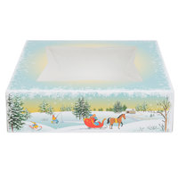 Southern Champion 2496 9 inch x 9 inch x 2 inch Window Cake / Bakery Box with Ice Skating / Winter Design - 150/Bundle