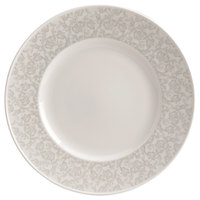 Homer Laughlin 170442128 Gala 6 1/2 inch Wide Rim China Plate with Gossamer Light Gray Floral Decaled Rim - 36/Case