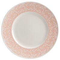 Homer Laughlin 170042129 Gala 11 1/4 inch Wide Rim China Plate with Gossamer Coral Floral Decaled Rim - 12/Case