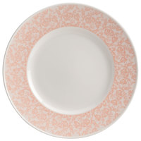 Homer Laughlin 170142129 Gala 10 3/8 inch Wide Rim China Plate with Gossamer Coral Floral Decaled Rim - 12/Case