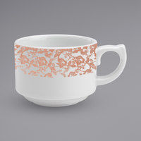 Homer Laughlin 171142129 Gala 8 oz. China Stacking Cup with Gossamer Coral Floral Decaled Rim   - 12/Case