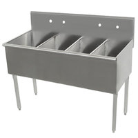Advance Tabco 4-4-48 Four Compartment Stainless Steel Commercial Sink - 48 inch