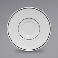 Homer Laughlin 17127407 Gala 6 1/2 inch China Saucer with Ella Platinum Rim - 12/Case