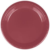 Creative Converting 28312221 9 inch Burgundy Plastic Dinner Plate - 240 / Case