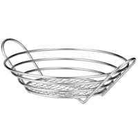 Tablecraft H7175 Round Chrome Plated Basket - 12 inch x 3 1/4 inch