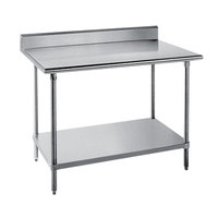 Advance Tabco SKG-365 36 inch x 60 inch 16 Gauge Super Saver Stainless Steel Commercial Work Table with Undershelf and 5 inch Backsplash
