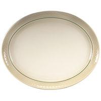 Homer Laughlin 1430-0353 Green Jade Gothic 13 1/8 inch Off White Oval Platter   - 12/Case