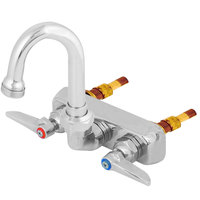 T&S B-1146-01-WS Wall Mount Workboard Faucet with 4 inch Centers and Polished Chrome Plated Escutcheon - 5 1/16 inch High Gooseneck with 2 15/16 inch Spread