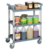 "Choice Gray Utility / Bussing Cart with Three Shelves - 32"" x 16"""