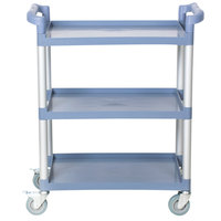 Choice 32 inch x 16 inch x 38 inch Gray 3 Shelf Utility / Bussing Cart