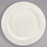 Homer Laughlin HL3407000 Gothic 11 1/8 inch Ivory (American White) China Plate - 12/Case