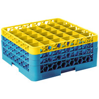 Carlisle RG36-3C411 OptiClean 36 Compartment Glass Rack with 3 Color-Coded Extenders - Yellow / Carlisle Blue
