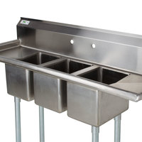 regency 66 inch 16 gauge stainless steel three compartment commercial sink with 2 drainboards - Three Compartment Kitchen Sink