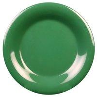 5 1/2 inch Green Wide Rim Melamine Plate - 12/Pack