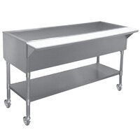 APW Wyott PCT-4S Four Well Portable Cold Food Table with Stainless Steel Legs and Undershelf