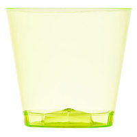 Fineline Quenchers 401-Y 1 oz. Neon Yellow Hard Plastic Shot Cup - 50/Pack