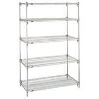 Metro 5A417C Stationary Super Erecta Adjustable 2 Series Chrome Wire Shelving Unit - 21 inch x 24 inch x 74 inch