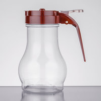 Tablecraft PP410B 10 oz. Polycarbonate Teardrop Syrup Dispenser with Brown ABS Top   - 12/Pack