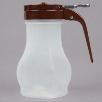 Tablecraft PP410B 10 oz. Polypropylene Teardrop Syrup Dispenser with Brown ABS Top - 12/Pack