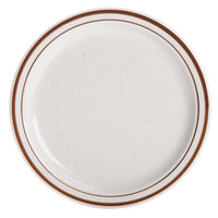 9 inch Brown Speckle Narrow Rim China Plate - 24/Case