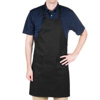"Choice Black Full Length Bib Apron with Pockets - 34"" x 32""W"