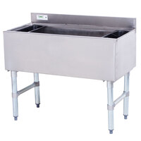 Regency 18 inch x 36 inch Underbar Ice Bin with 7 Circuit Post-Mix Cold Plate and Bottle Holders