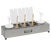 Nemco 88101-CB-2 24 inch Stainless Steel Condiment Bar with Two 1.5 Qt. Pumps and 0.6 Qt. Condiment Trays