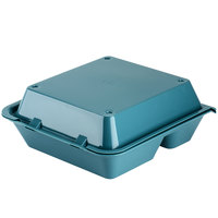 GET EC-01 9 inch x 9 inch x 3 1/2 inch Aqua 3-Compartment Reusable Eco-Takeouts Container - 12/Case
