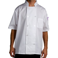 Chef Revival J105-2X Size 52 (2X) Customizable Short Sleeve Double Breasted Chef Coat - Poly Cotton