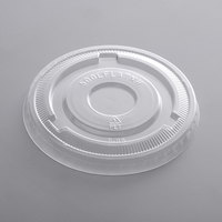 Choice 9 oz., 12 oz., 16 oz., 20 oz., 24 oz. Clear PET Flat Lid with No Straw Slot - 50/Pack