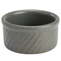 Hall China 4980AQUA Quarry 8 oz. Gray Round Fluted China Ramekin/Souffle - 24/Case