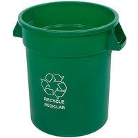 Carlisle 341020REC09 Bronco 20 Gallon Green Round RECYCLE Trash Can