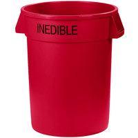 Carlisle 341032INEB05 Bronco 32 Gallon Red Round INEDIBLE Trash Can