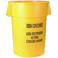 Carlisle 341044USD04 Bronco 44 Gallon Yellow Round USDA CONDEMNED Trash Can