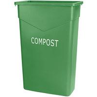 Carlisle 342023CMP09 Trimline 23 Gallon Green Slim COMPOST Trash Can