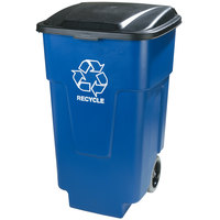 Carlisle 345050REC14 Bronco 50 Gallon Blue Rollout RECYCLE Trash Can with Hinged Lid