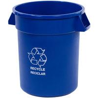 Carlisle 341020REC14 Bronco 20 Gallon Blue Round RECYCLE Trash Can