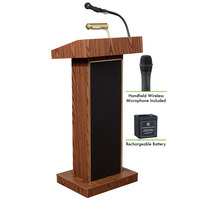 Oklahoma Sound M800X-MO/LWM-5 Medium Oak Finish Orator Lectern with Sound, Wireless Handheld Microphone, and Rechargeable Battery